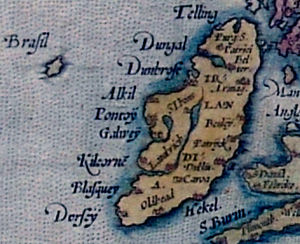 Brasil (mythical island) - Brasil as shown in relation to Ireland on a map by Abraham Ortelius (1572)