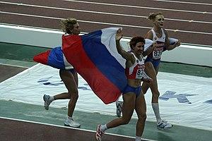 Tatyana Lebedeva - Celebrating victory in Osaka in 2007.