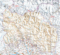 Topographic map of South Ossetia (Polish transcription)
