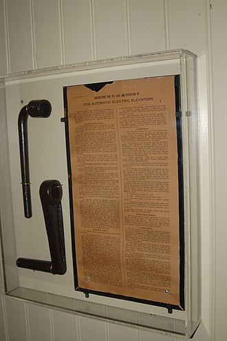 Winchester Mystery House - The manual and emergency tools for the Otis Automatic Electric elevator