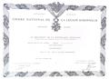 Ottoarndt Glossner, Ordre National De La Légion D'honneur, Paris, 1986..png