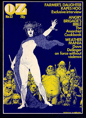 OZ (magazine) - OZ London, No.33, February 1971. Cover image by Norman Lindsay