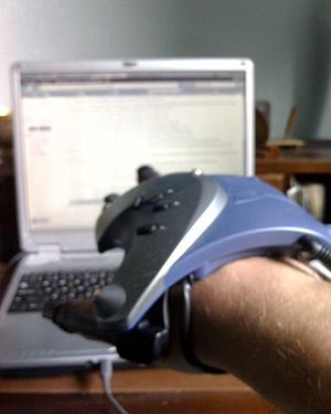 Wired glove - A P5 wired glove being used as a mouse