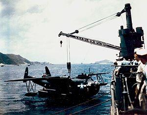 PBM-5 VPB-26 being hoisted on USS Norton Sound (AV-11) Okinawa 1945.jpeg