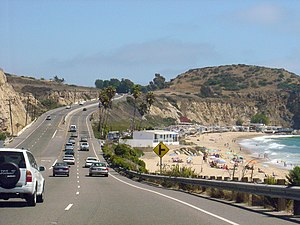 California State Route 1 - Southbound PCH in Crystal Cove State Park near Laguna Beach