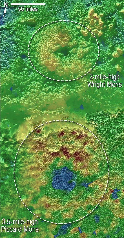 Montes Piccard y Wright, posibles volcanes de Plutón