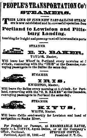 People's Transportation Company - P. T. Company advertisement placed May 7, 1863, during competition with Oregon Steam Navigation Company on the Columbia and Snake rivers.