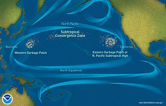"Pacific Ocean currents have created 3 ""islands"" of debris. Pacific-garbage-patch-map 2010 noaamdp.jpg"