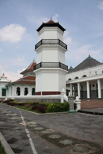 Great Mosque of Palembang - The restored 18th-century minaret of the Great Mosque.
