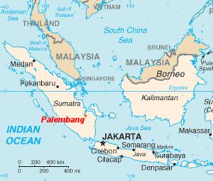 Battle of Palembang - Image: Palembang location