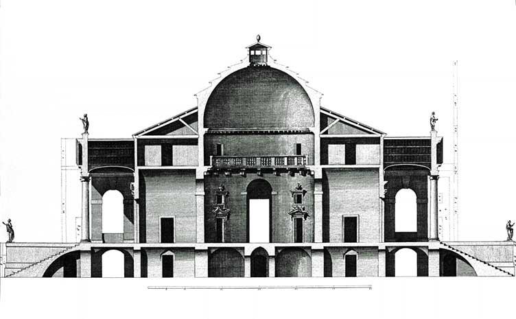 Palladio Rotonda seccion Scamozzi 1778