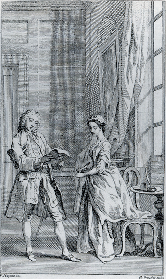Pamela; or, Virtue Rewarded - A plate from the 1742 deluxe edition of Richardson's Pamela; or, Virtue Rewarded showing Mr. B intercepting Pamela's first letter home to her mother.