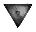Pan of balance for money weights showing maker's mark Wellcome M0014003.jpg
