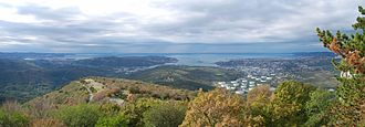 Gulf of Trieste - Panoramic view of the Gulf of Trieste from the vicinity of Socerb Castle in Slovenia. One may see the Savudrija Cape and the city of Koper at the Slovene Riviera to the left, the Muggia Peninsula and the village of Muggia in the centre, and the city of Trieste to the right.