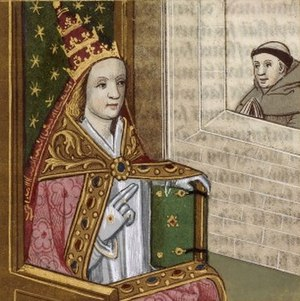 Pope Joan - Illustrated manuscript depicting Pope Joan with the papal tiara. Bibliothèque nationale de France, c. 1560.