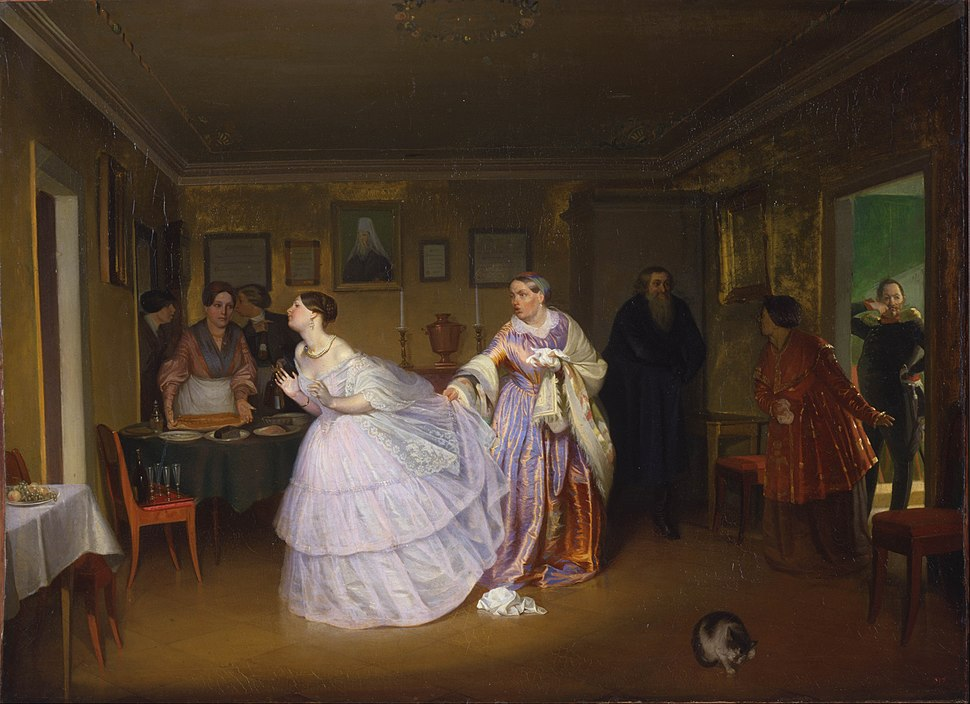Pavel Fedotov - The Major Makes a Proposal (Inspecting a Bride in a Merchant's House) - Google Art Project