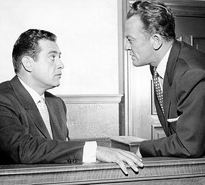Hamilton Burger - William Talman (right) as Hamilton Burger, with Raymond Burr in the CBS-TV series Perry Mason (1957–66)