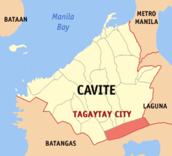 Map of Cavite showing the location of the city of Tagaytay.