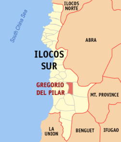 Map of Ilocos Sur showing the location of Gregorio del Pilar