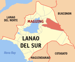 Mapa ning Lanao del Sur ampong Maguing ilage