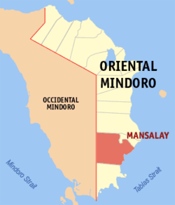 Map of Oriental Mindoro with Mansalay highlighted