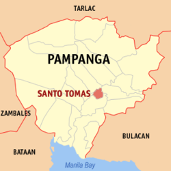 Map of Pampanga showing the location of Santo Tomas