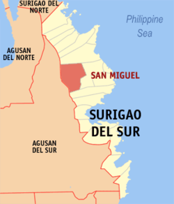 Map of Surigao del Sur with San Miguel highlighted