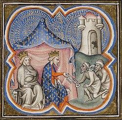 Philippe Auguste et Richard reçoivent les clés d'Acre