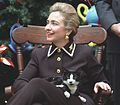 Photograph of First Lady Hillary Rodham Clinton and Socks the Cat- 12-13-1995 (6461521265) (cropped).jpg