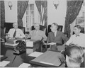 Photograph of President Truman with several members of his Cabinet at the White House, (from left to right) Secretary... - NARA - 199136.tif
