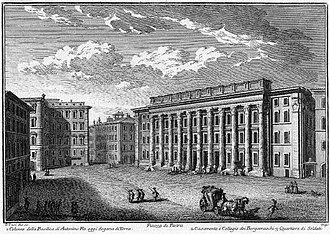 Temple of Hadrian - Drawing of the Temple by Giuseppe Vasi, c. 1750