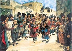 Public holidays in Azerbaijan - Holiday in Azeri village, 1930s. Work by Azim Azimzade