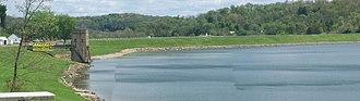 Moorefield Township, Harrison County, Ohio - Piedmont Lake dam is alongside U.S. Route 22