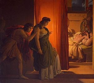 Aegisthus - Pierre-Narcisse Guérin's Clytemnestra and Agamemnon, in which Aegisthus appears as a shadowy figure pushing Clytemnestra forward