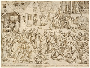 Works of mercy - Caritas, The Seven Acts of Mercy, pen and ink drawing by Pieter Bruegel the Elder, 1559. Anticlockwise from lower right: feed the hungry, give drink to the thirsty, ransom the captive, bury the dead, shelter the stranger, comfort the sick, and clothe the naked