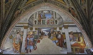 Pietro di Francesco degli Orioli - Christ washing feet of apostles, Baptistry, Siena