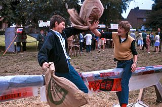 Pillow fight common game mostly played by young children (but also by teens and adults) in which they engage in mock physical conflict, using pillows as weapons