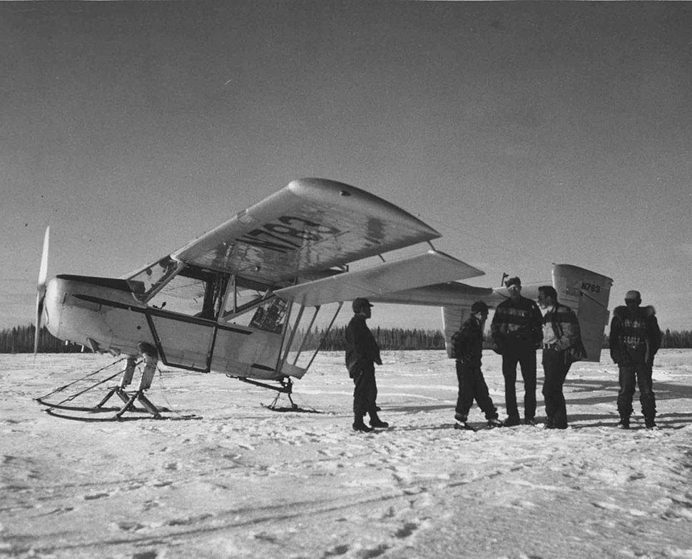 Pilot and crew members with plane