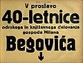 Plakat za proslavo 40-letnice odrskega in književnega delovanja gospoda Milana Begovića v Narodnem gledališču v Mariboru 8. decembra 1936.jpg