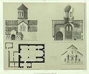 Plan, coupe et exterieur de l'eglise de Bethanie