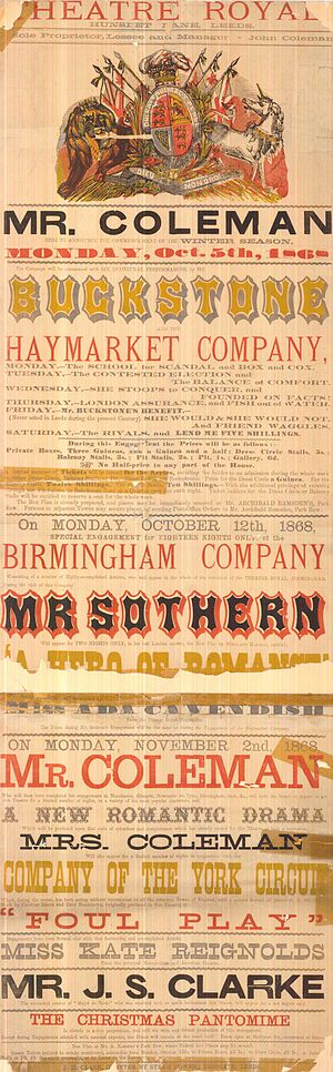 """The Theatre, Leeds - Royal Theatre playbill for 1868. Confusingly it is still called the """"Theatre Royal""""."""