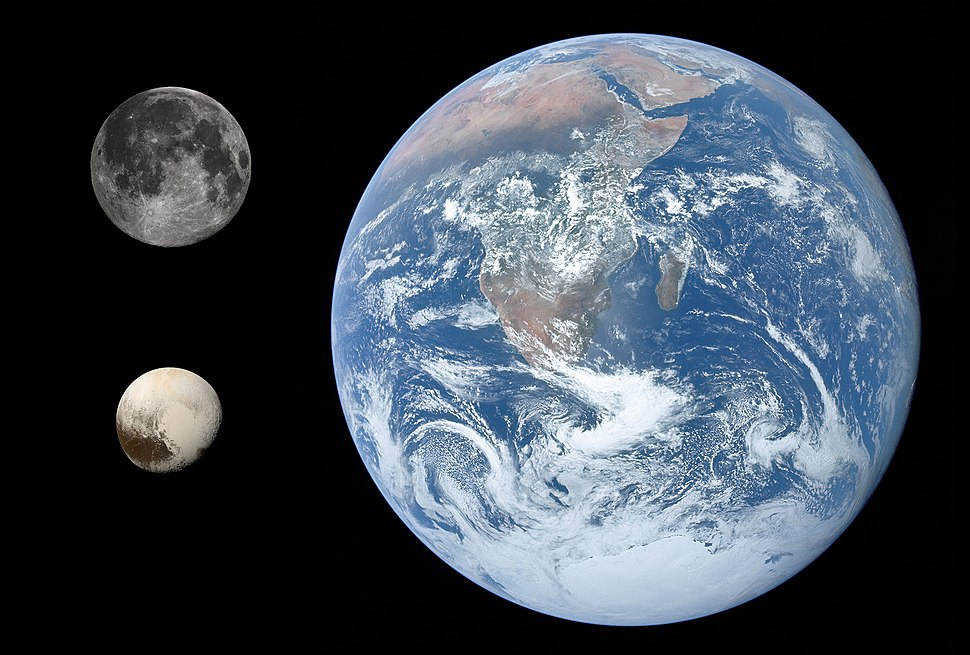 Pluto, Earth %26 Moon size comparison