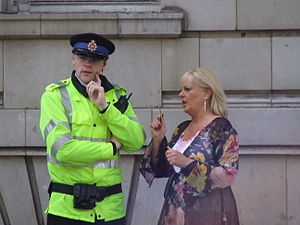 English: Lady talking to Greater Manchester po...