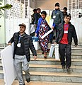 Polling officials carrying the Electronic Voting Machines (EVMs) and other necessary inputs required for the Meghalaya Assembly Election, at a distribution centre, at Shillong on February 26, 2018 (1).jpg