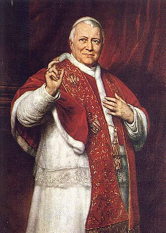 Pope Pius IX convened the First Vatican Council that approved the dogma of Pope as the visible head of the church, prime bishop over a hierarchy of clergy and believers Popepiusix.jpg