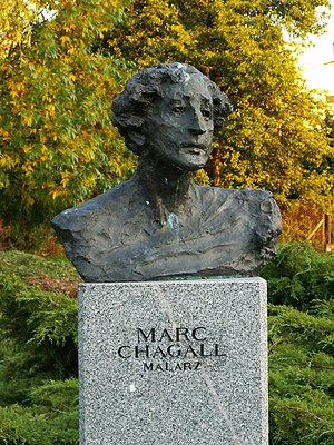 Bust of Marc Chagall in Celebrity Alley in Kie...