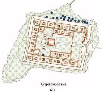 Por-Bazhyn - Vajnstejn's plan of the site (updated 2007 for the Por-Bajin Fortress Foundation)