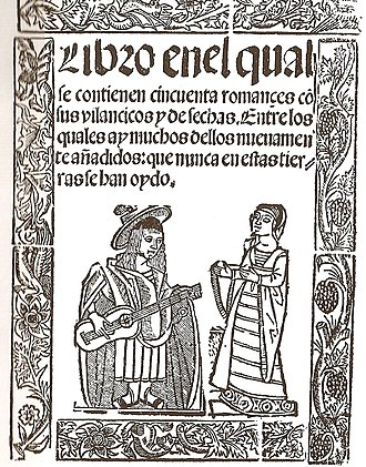 Romance (meter) - Cover of the book Libro de los cincuenta romances (c. 1525), first known collection of romances.