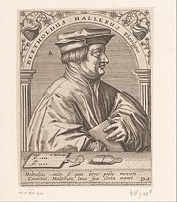 Portret van Berchtold Haller Bertholdus Hallerus Theologus (titel op object) Serie portretten van vijftiende- en zestiende-eeuwse geleerden (serietitel), RP-P-1908-2611