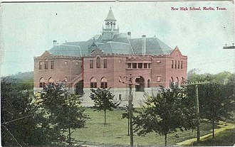 """Marlin Independent School District - """"New"""" high school, about 1905"""